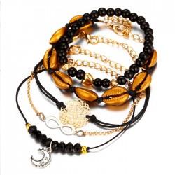 Ensemble de cinq pièces de pendentif d'amour en forme de coquille sculptée de lune Bracelet