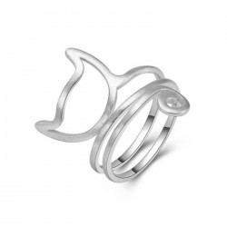 Cute Cat Twine 3 Layer Brushed Kitty Silver Women's Open Ring