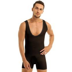 Body sexy sans manches en maille extensible pour hommes See Through Jumpsuit Justaucorps Une Pièce Lingerie