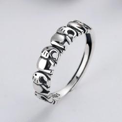 Signal Éléphant Épissure Cadeau de bijoux de charme d'argent creux pour son anneau ouvert d'animal argenté