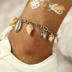 Leisure Conch Metal Shell Pendant Turtle Women Anklet