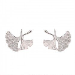 Cute Lotus Leaf Fresh Simple Silver Earring Studs
