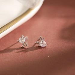 Cerf cristal cristal elk femelle 925 argent mini animal dame boucles d'oreilles