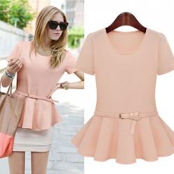 Flounced Skirt Splices Short-Sleeved Slim T-shirt