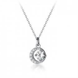 Collier de fille de chandail d'argent de cristal de cristal de croissant de lune de conception unique