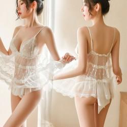 Chemise pour femmes Sexy dentelle Dot creux chemise de nuit transparente nuisette licou maille Lingerie