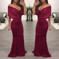 Épaule sexy épaule jupe robes longue robe de soirée