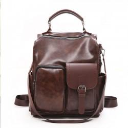 Sac à bandoulière multifonctionnel en cuir souple rétro poche irrégulière sac d'école sac à dos