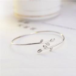 Feuilles fraîches cadeau petite amie feuille femmes bracelet ouvert bracelet en argent