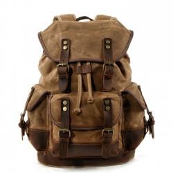 Sac à dos de voyage rétro grande taille multi poches toile rivet couture sac d'alpinisme en cuir sac à dos de camping en plein air