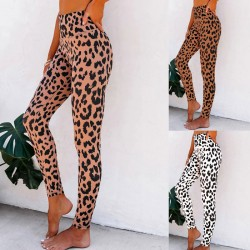 Pantalon de yoga taille haute imprimé léopard sexy femme mince leggings