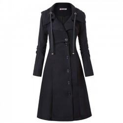 Manteau en laine double face à manches longues irrégulière unique unique pour les femmes