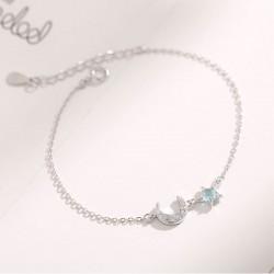 Océan charmant Étoile Lune Argent opale Bracelet Dame