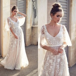 Sweet Sexy Bat Sleeve Lace Middle Sleeve Summer Dress V-neck Long Flower Dress