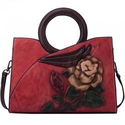 Cercle rétro poignée originale grande fleur gaufrage à la main feuilles sac à main Rose sac à bandoulière