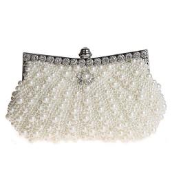 Noble diamant de Bling de satin avec des perles Parti Prom embrayage soir sac sac de mariage