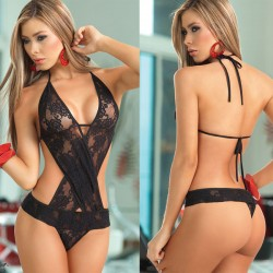 Sexy Lace Hollow Sling Conjoined Cross Flower Women Intimate Lingerie