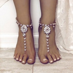 Cute Yoga Tassel Rhinestone Foot Accessory Ring Summer Crystal  Anklet