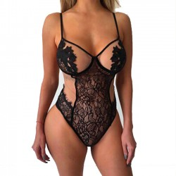Sexy Black Lace Hollow Leaves Flower Sling Conjoined Women Intimate Lingerie