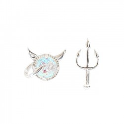 Cute Silver Little Devil Cute Asymmetric Trident Girl Earrings