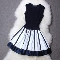 Élastique Tricoté Noir et blanc Rayé Robe
