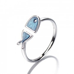 Cute Blue Fish Friend Gift Animal Open Ring