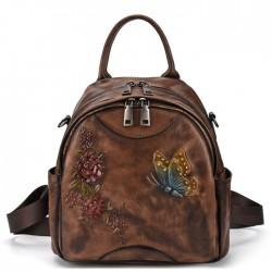 Rétro fleur de papillon 3D laisse le sac à bandoulière original multifonctionnel en cuir