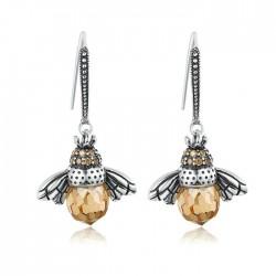 Boucles d'oreilles mignonnes petites têtes d'abeille Zircon
