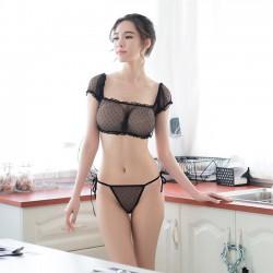 Sexy Transparent Bra Set Underwear Black Lace Women Intimate Lingerie