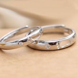 Couple amoureux romantique creux pieds en argent bague réglable