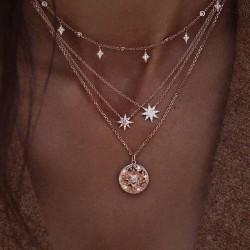 Unique Diamant étoile Perle multicouche Collier pull femme