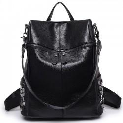 Grand sac à dos scolaire multifonction Punk Square Sac à bandoulière en cuir PU noir pour fille