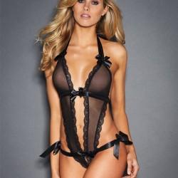Lingerie intime sexy en bandoulière en dentelle avec bordure en bandoulière noire