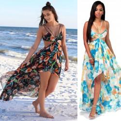 Nouveau aux femmes Bohême Longue Fleur Été Les robes Mousseline de soie Plage Robe