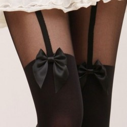 Sexy Suspenders Bowknot Skin Upper Stitching Pantyhose/Stockings