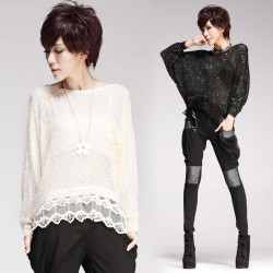 Lace Hem Sequin Hollow Out Batwing-sleeved Knitwear