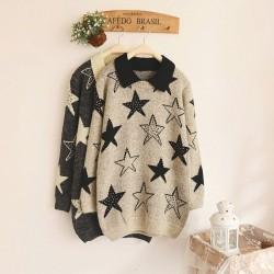 Elegant Pentagram Printed Jacquard Sleeve Angora Sweater