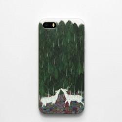 Frais Le Main Peint Arbre Sika Cerf Silicone iphone 5 / 5s / 6 / 6s Cas