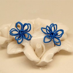Le Main Fabriqué Tricoté Une fleur Argent Oreille Goujon