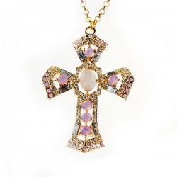 Mode Croix diamant pull collier
