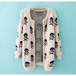 Printed Skeleton Hairy Casual Sweater