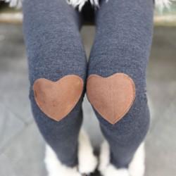 Fashion Knee Love Patch Leggings