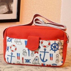 Retro Fashion Of The Anchor Printed Shoulder Messenger Bag