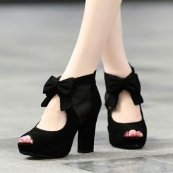 Givré Cuir Haut Heeled Poisson Directeur Arc Chaussures