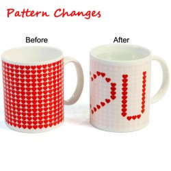 Lovely Gift Color-changing Mug Red Heart Pattern Cup