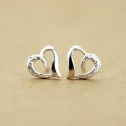 Romantique Heart-Shaped 925 Argent Des boucles d'oreilles
