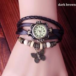 Bracelet en cuir de papillon Rétro Montres