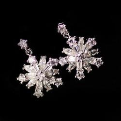 Mode de flocon de neige strass Argent Boucles Goujons