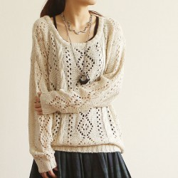 Vintage Round Neck Hollow Out Sleeved Sweater&Cardigan