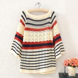 Fashion Hollow Wave Striped Sweater&Cardigan